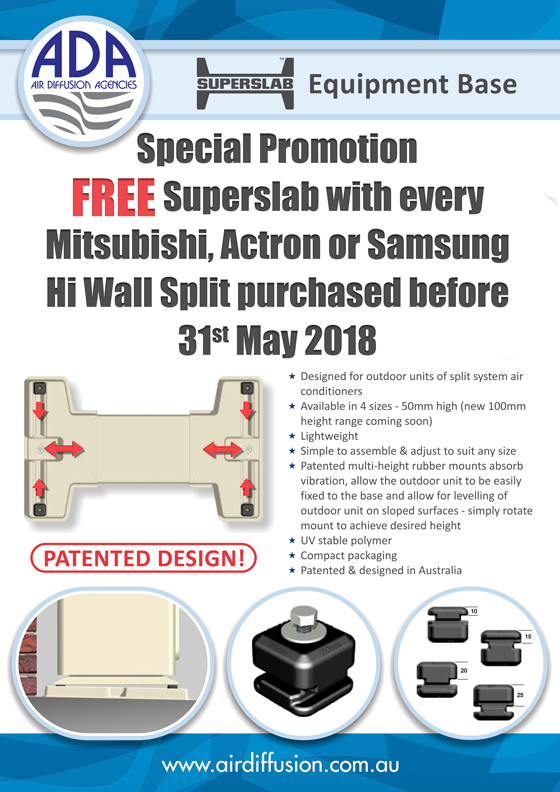 Free Superslab with any hi wall split May 2018