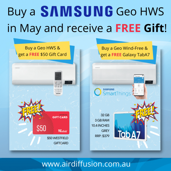 Free gifts with all Samsung Geo Wall Splits this May